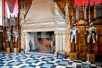 Knights armor and a large fireplace inside of Great Hall in Edinburgh Castle