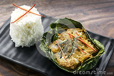 Traditional Cambodian khmer fish amok curry