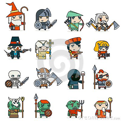 Lineart Fantasy RPG Game Heroes Villains Minions Character Vector Icons Set Flat Design Vector Illustration