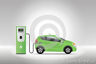 Electric car charging at charger service station with grey background. Hybrid Vehicle, Eco friendly auto or electric vehicle