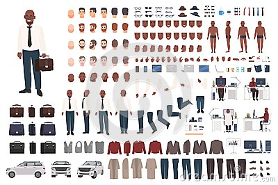 Businessman or office worker creation kit. Collection of flat male cartoon character body parts, facial gestures, smart