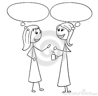 Cartoon Illustration of Two Women Business People Talking
