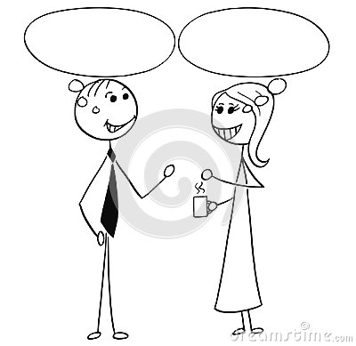 Cartoon Illustration of Man and Woman Business People Talking