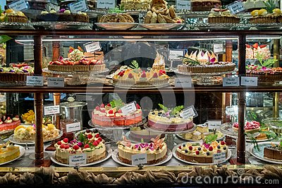 Cake display in a patisserie
