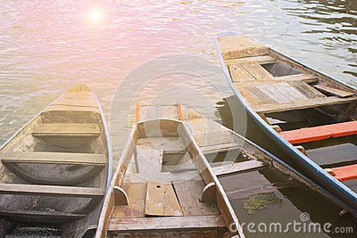 Wooden boats in the river transportation