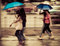 People walk on road in rainy day