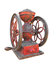 Antique metal coffee grinder isolated.