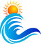 Wave and sun logo