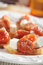 Crostinis with feta cheese and tomato
