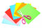 Colorful paper with scissors for children isolated