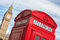 London symbols: red telephone box, Big Ben