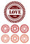 Red vintage stamps for Valentine day