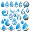 Set of water drops icons, symbols, logos and design elements