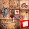 Heart collage Valentines love hearts set fabric old paper wood