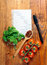 Blank lined paper with cooking ingredients