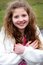 Smiling Preteen Girl with Long Hair
