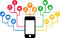 Smartphone & Social Media icons, communication in the global computer networks