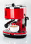 A red vintage looking espresso coffee machine is making a coffee