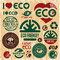 Eco friendly icons set. I love eco. Go green.