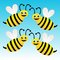 Four amusing drawn bees on a blue background