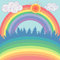 Beautiful landscape with forest, rainbow, sun in cartoon style