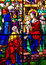 Three Kings Visit Jesus Stained Glass