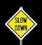 Slow Down yellow road sign isolated