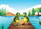 Two turtles standing at the diving board