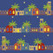Arabian Night Houses Seamless Pattern Background