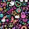 Peace and Love Seamless Pattern Psychedelic Doodle