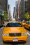 Manhattan buildings and taxis driving on a sunny day, New York City, USA