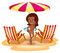 A tan lady at the beach near the beach umbrella and chairs