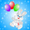 Fluffy hare with  balloons on a blue background