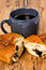 Morning breakfast with cup of coffee and croissant
