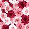Seamless pattern with red and pink roses.