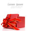 Red gift box with red and glod ribbon