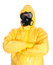Man in protective hazmat suit.