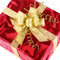 Red gift box with smart gold bow