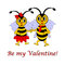 Two funny cartoon bees with words