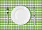 Knife, white plate and fork on green picnic table cloth