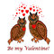 A couple of owls with red hearts and words