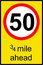 Temporary speed limit ahead sign