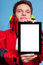 Man showing blank copy space tablet touchpad