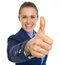 Closeup on business woman showing thumbs up