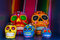 Five colorful skulls from Mexican tradition