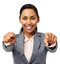 Businesswoman Pointing At You With Both Hands