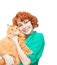Curly red-haired girl with a red cat isolated
