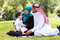 Muslim family outdoors