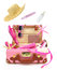 Ready to travel open pink suitcase
