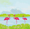 Three pink flamingos in the water